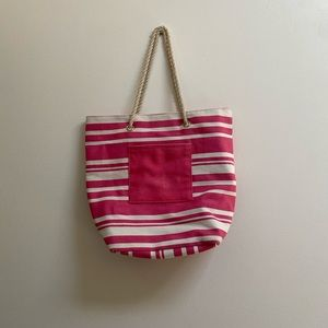 FREE Nautical Pink Beach Tote Bag with Rope Straps